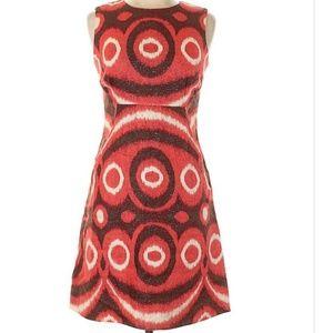 Tory Burch Red Linen Metallic A-Line Dress